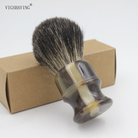 Style 1 Black Pure Badger Shaving Brush Faux Ebony Black Color Resin Handle Knot 21mm