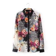 Nice Summer Ladies Blouse  Retro Vintage Elegant  Overall Floral Printed Lapel Long Sleeve Chiffon Shirts EC5182