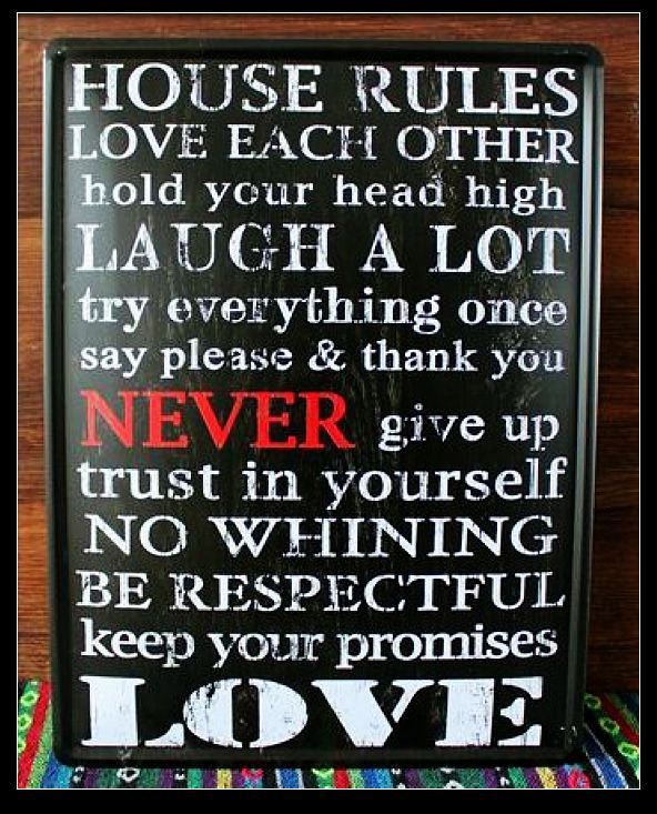 family rules large metal tin wall