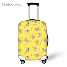 ELVISWORDS Suitcase Protective Covers Cartoon Animal Prints Waterproof Luggage Cover Kawaii Design Women DustTravel Accessories