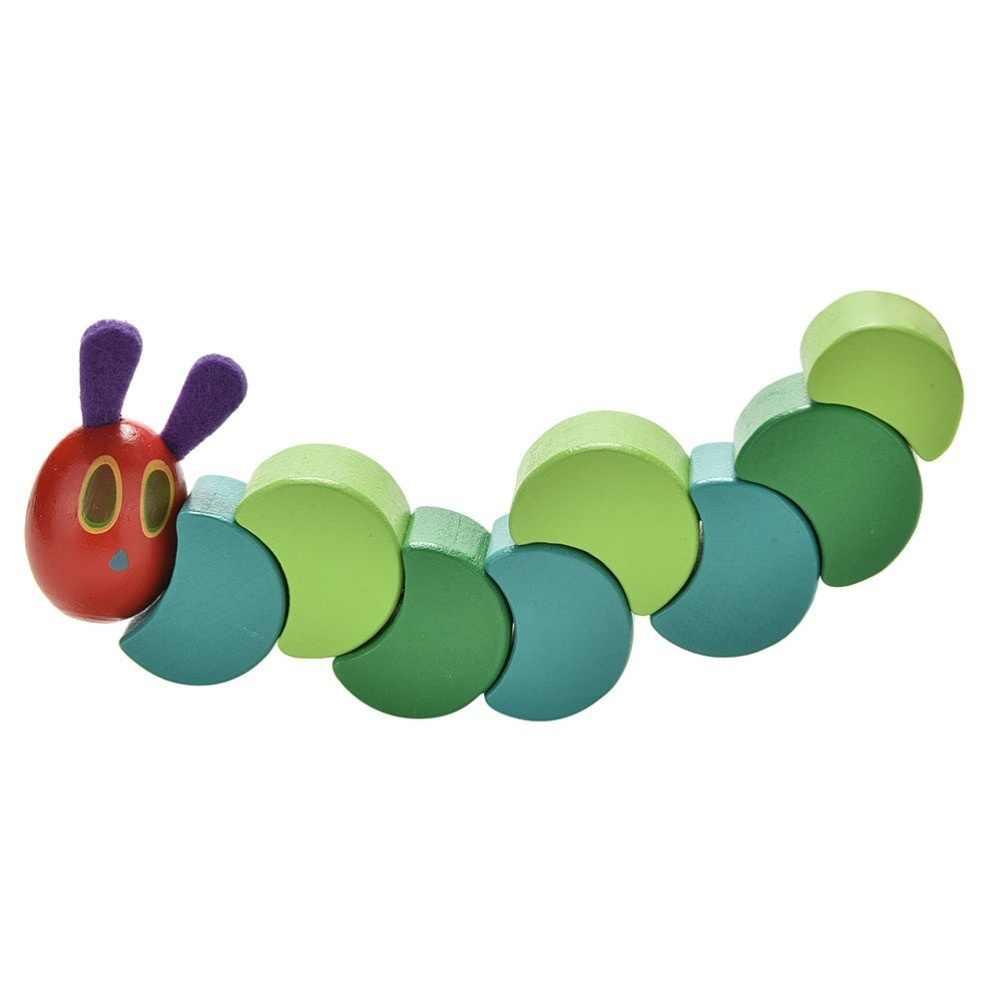 Anak Lucu Fleksibel Blok Caterpillar Mainan Blok Kayu Awal Pendidikan Serangga Anime Twist Sangat Lapar Bayi Jari