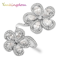 Yunkingdom 2017 new Lady big fashion evening banquet ring gorgeous two flower design finger ring zircon