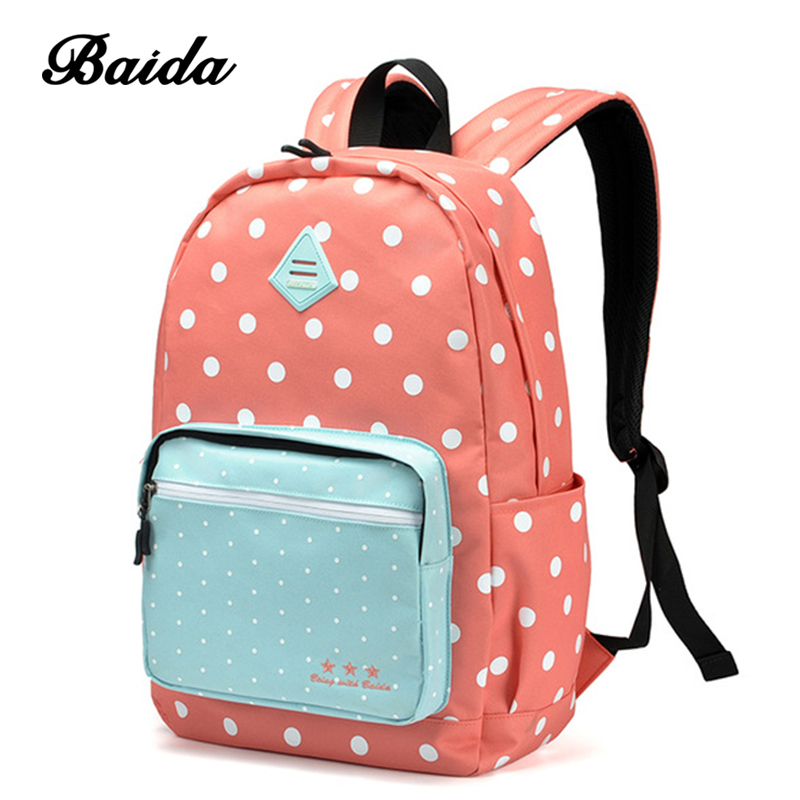 BAIDA Women Backpack High Quality Pink Cute Backpacks Sweet Polka Dots Rugzak Stipjes School Bags For Teens Girls modella personal purse case pink polka dots 2 count