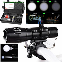 NEW X800 XML T6 LED Zoom Tactical Military Flashlight Silicone Bicycle Light US Plug Free Shipping