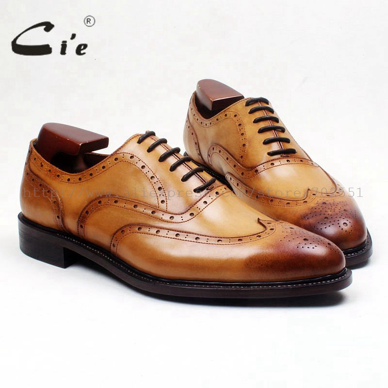 cie round wingtips medallion patina brown full grain calf leather men shoe goodyear welted bespoke leather handmade shoe OX573 cie round toe wingtips brown black mixed colors 100