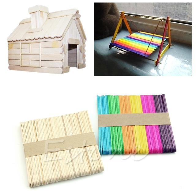 50Pcs Wooden Colorful Popsicle Stick Ice Cream Cake DIY HandiCraft Art Kid