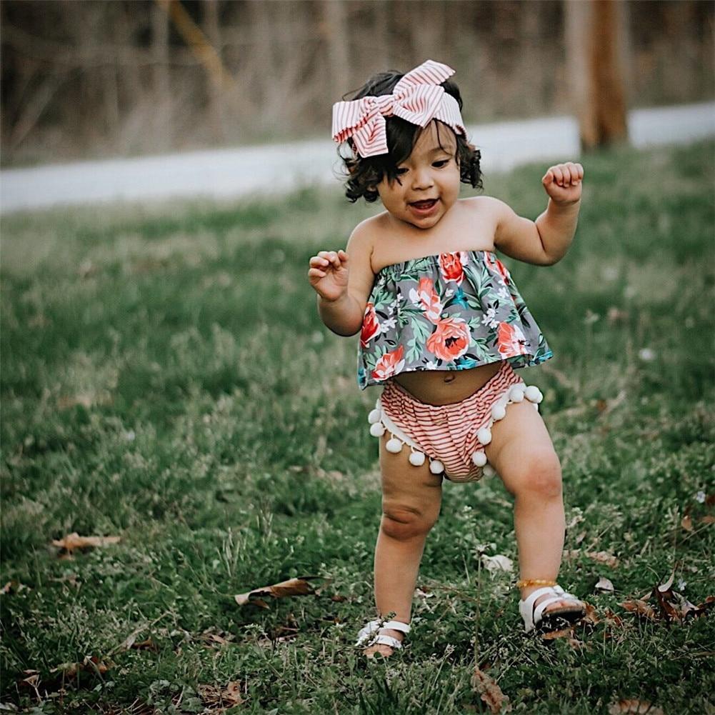 Emmababy Newborn Baby Gils Off Shoulder Tops +Stripe Shorts+Headband Outfits Set 3pcs