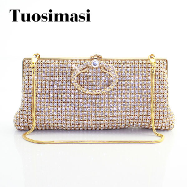 Women Golden Rhinestones Crystal Evening Clutches Bag Wedding Dress Bridal Diamond Chains Shoulder Handbags Purses golden crystal diamond rabbit women evening clutch bags bridal wedding dress handbags shoulder purses hard case metal clutches