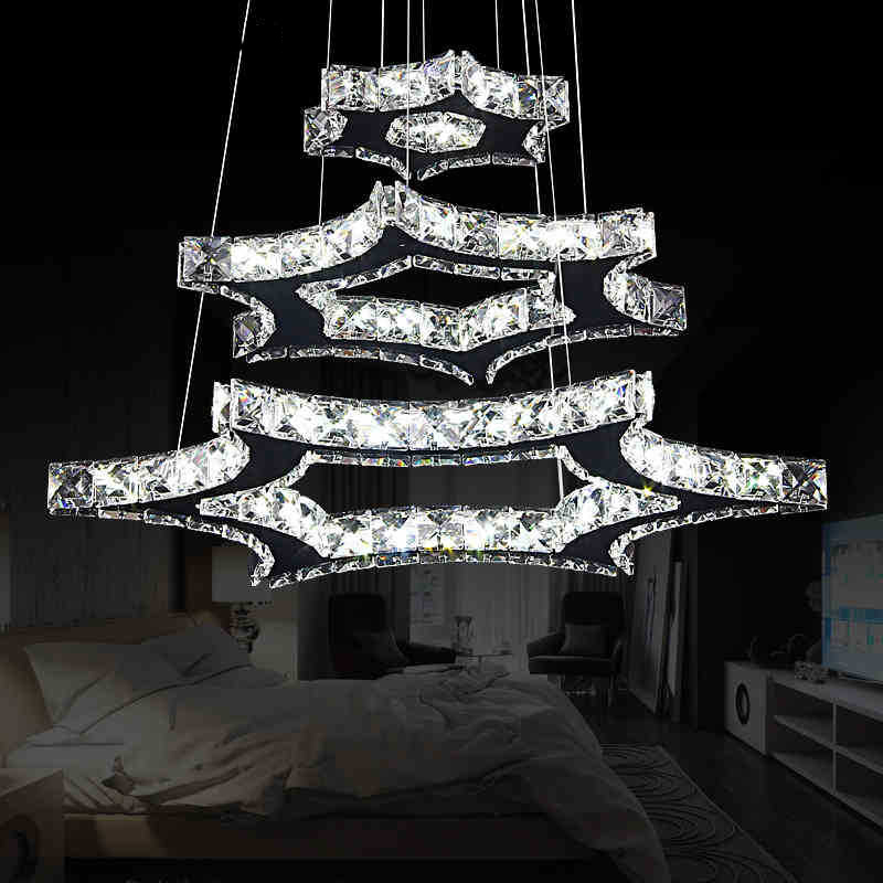 Fashion luxury hexagon crystal pendant lamp creative dining room hanging light foyer cord suspend lighting a1 master bedroom living room lamp crystal pendant lights dining room lamp european style dual use fashion pendant lamps