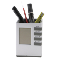 Pencil Holder Multifunctional Digital LCD Clock Time Alarm Temperature Calendar Pen Holder