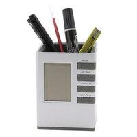 Pencil Holder Multifunctional Digital LCD Clock Time Alarm Temperature Calendar Pen Holder