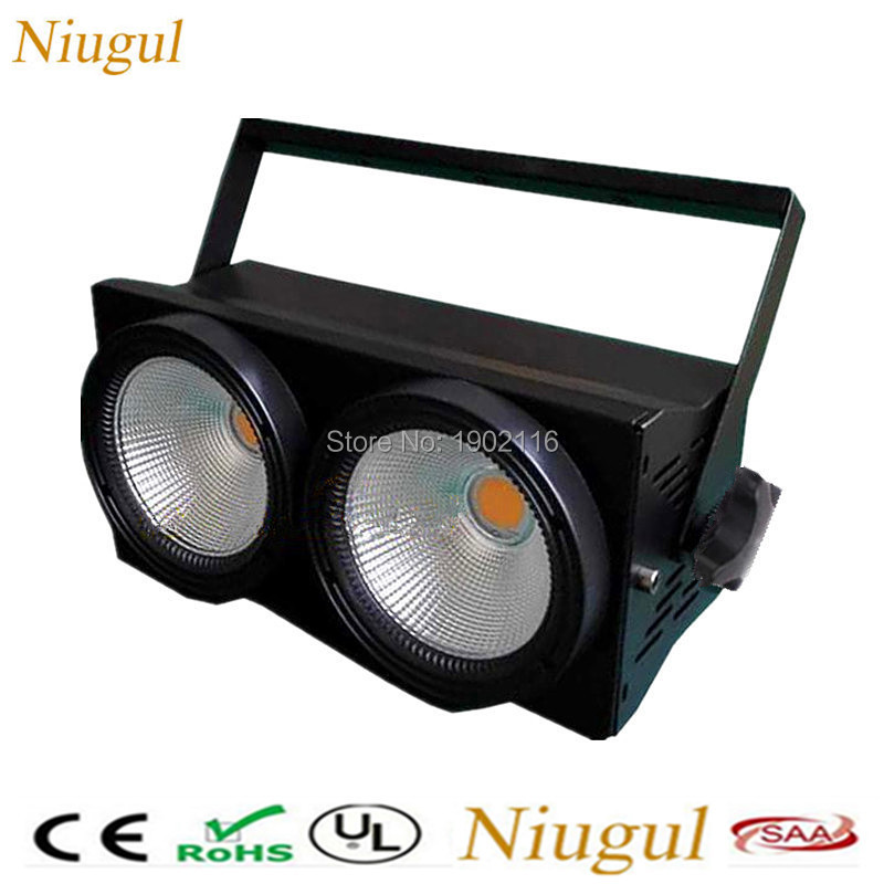 2eyes Led Blinder Light 2x100W LED Cob Light DMX512 Stage Lighting Effect 200W Warm White and Cool White DMX COB Audience lights blinder m45 x treme
