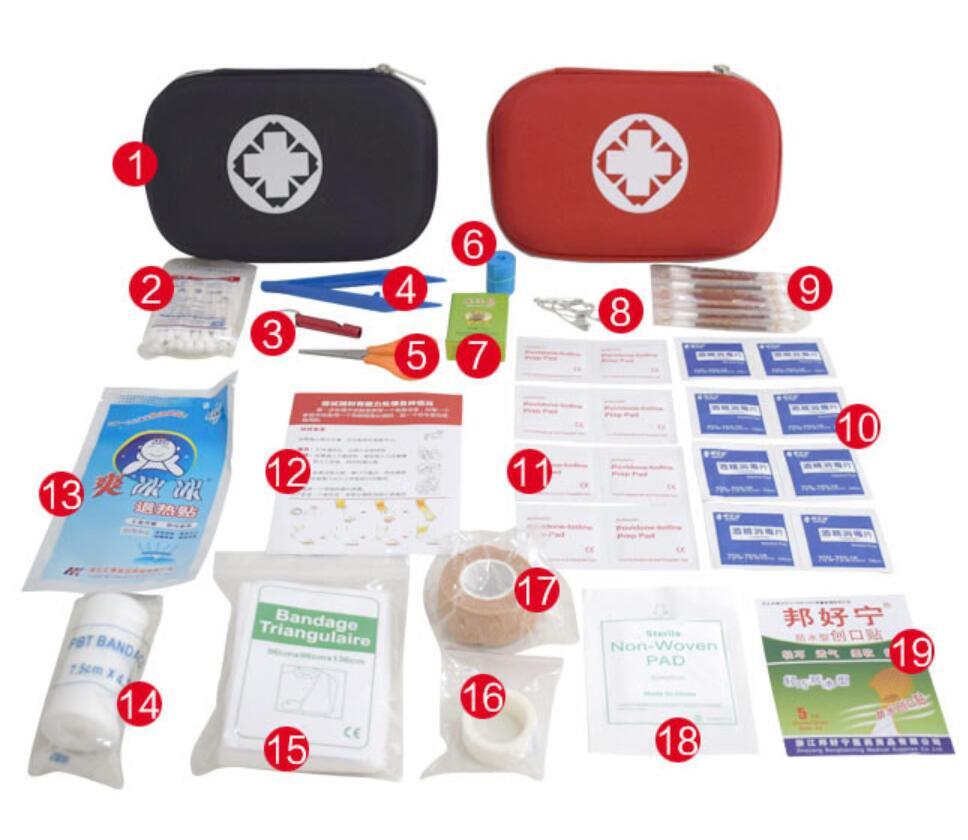 19 предметов, портативные дорожные аптечки первой помощи для дома, улицы, спорта, набор для чрезвычайных ситуаций, медицинская сумка из ЭВА, а...
