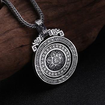 Mens Diamond Pendants | 925 Sterling Silver Jewelry Men Women Diamond Turn Pendant Thai Silver Retro Six-word Mantra Chain Pendant