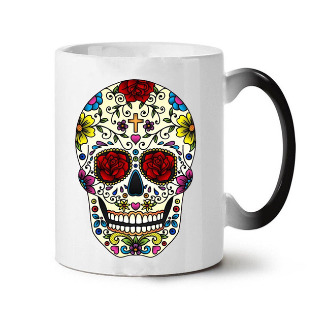 Skull Coffee Mugs with Heat Color Changing
