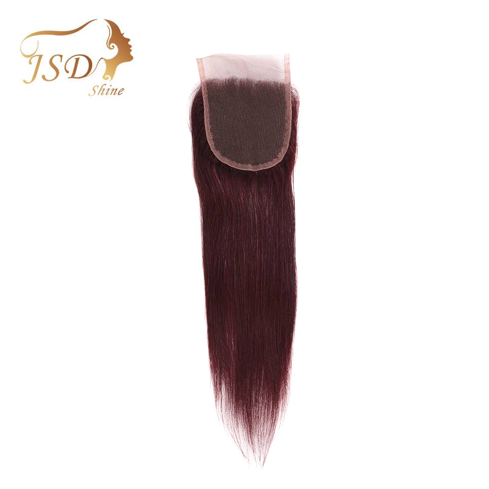 JSDshine Peruvian Pure Color Straight Lace Closure 4x4 Swiss Lace Closure 100% Human Hair 99j Red Closure Non-remy Hair