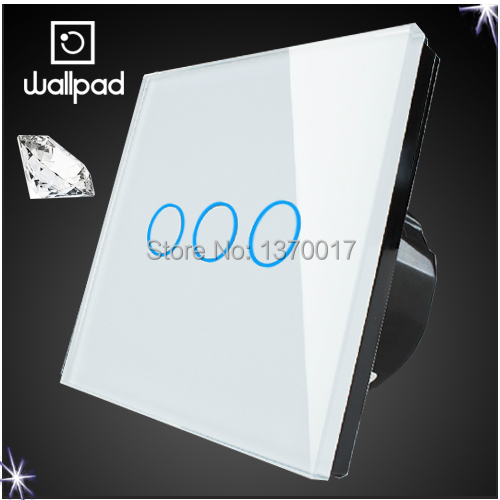 3 gangs 2 way, Wallpad touch screen switch,LED light wall control switch,Luxury White Glass Switch Panel,110~250V, Free Shipping new arrival 3 gangs 2 way gold touch light wall switch customize words led 110 250v touch switch work for any lamp free shipping