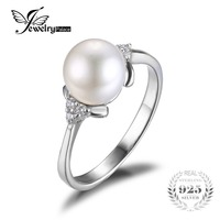 Jewelrypalace 100 Natural Freshwater Pearl Rings Classic Pearl Anniversary Gift For Women 925 Sterling Silver Fine