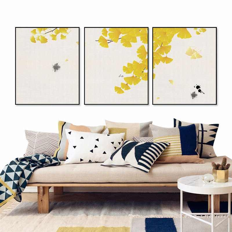 Autumn Yellow Apricot Leave Abstract Art Style Wall Painting Modern Poster Simple Triple Painting Living Room Bedroom Home Decor