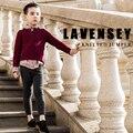Lavensey Alta Calidad Suéter de Los Cabritos de Viento Rojo Clásico Estilo Niños Otoño de Algodón prendas de Vestir Exteriores Suéteres de Cuello Alto Suéter