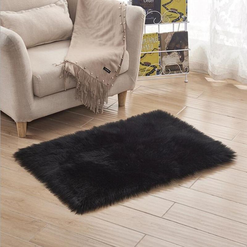 Fashion Soft Living Room/bedroom Carpet Sofa Antiskid Soft Pure White Silk Wool Carpet Faux Wool Luxury Tapis Modern Textile
