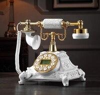 Telefon w stylu retro strona główna telefon stacjonarny z obrotowym przyciskiem Dial Metal materiał żywiczny antyki telefon do domu biuro domu w Telefony od Komputer i biuro na