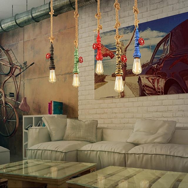 DIY loft retro industrial vintage Steampunk water  Pipe colorful pendant lamp e27 hemp rope light for bar Restaurant dining room