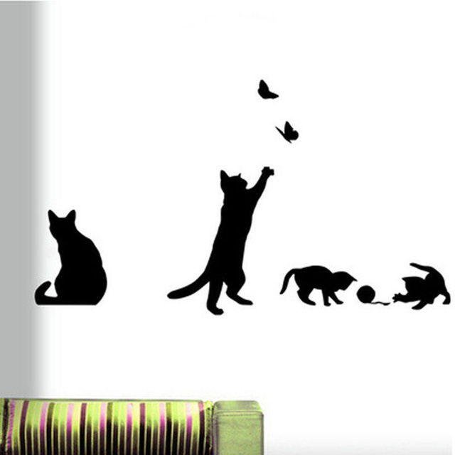 1 set/pack 57x21cm cat play butterflies wall sticker removable