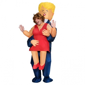 Donald Trump President Cosplay Costumes Carry Back Men Clothes Inflatable Garment Novelty Toys Halloween Party Fun Dress Disfraz