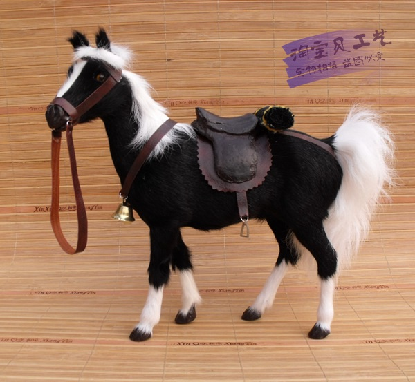 Simulation noir cheval de guerre jouet polyéthylène & fourrures nouveau sang cheval avec selle cadeau environ 28x10x26 cm 1951