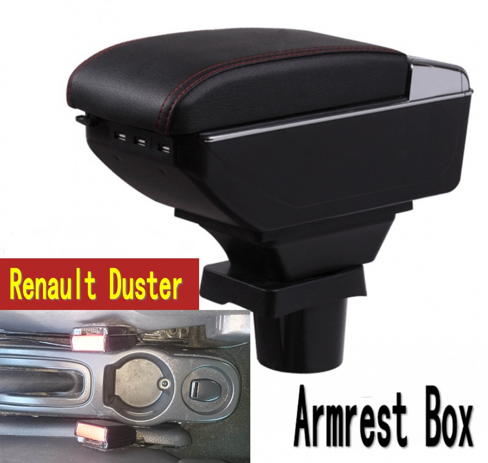 For Renault Duster armrest box central Store content box with cup holder ashtray USB interface Generic
