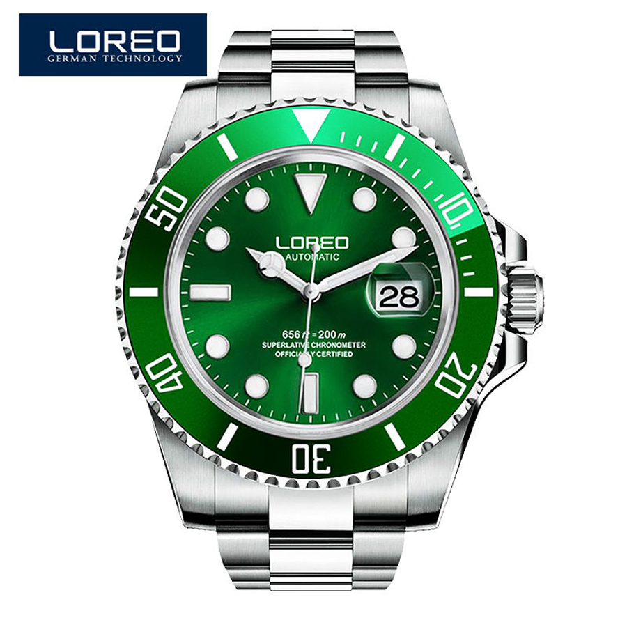 LOREO Diving DESIGN Men's Fashion Casual Mechanical Watches Waterproof 200M Stainless Steel Brand Luxury Automatic Watch Saat