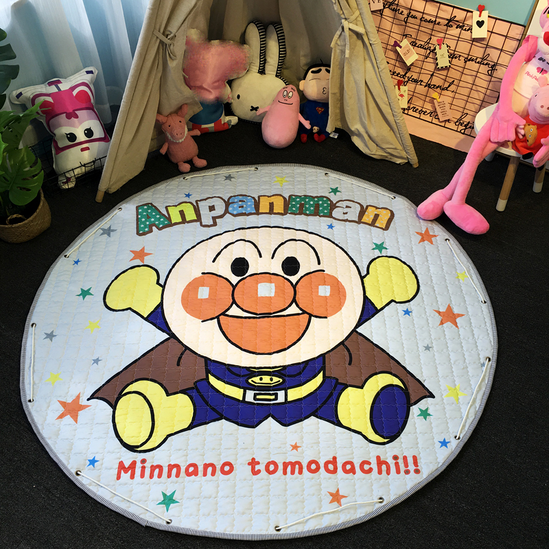 Home & Garden 1.5m Round Cute Mermaid Cartoon Baby Crawling Quilted Carpet Kids Play Games Toys Storage Mat Portable Trip Anti-slip Rest Rugs