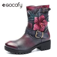 Socofy Vintage Knight Mid calf Boots Women Shoes Genuine Leather Plush Fur lined Motorcycle Boots Winter Autumn Boot Boats Mujer
