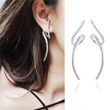 Spiral earrings luxury zirconia ribbon personality creative  crystal rhinestone stud jewelry