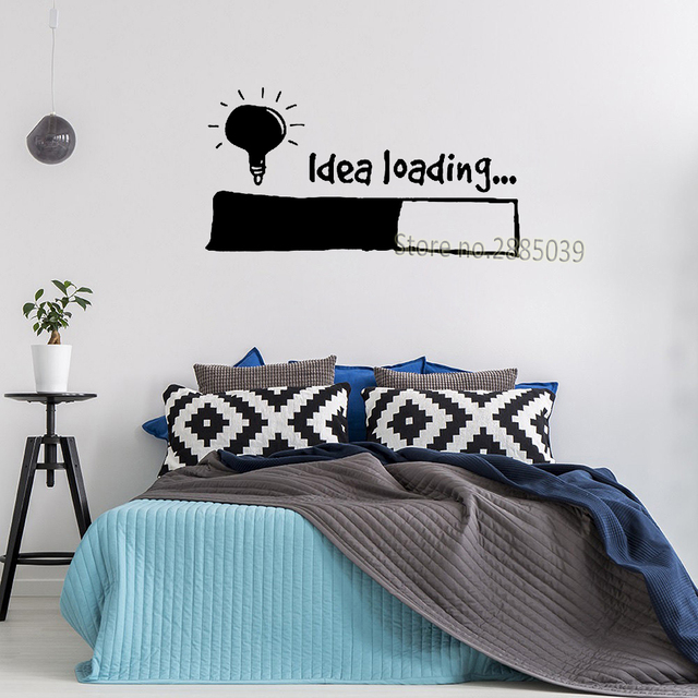 Idea Loading Wall Stickers Light Bulb Lamp Window Car DIY Sticker Decal Vinyl Silhouette Clip Art Vector Plotter Cut Decor SA138