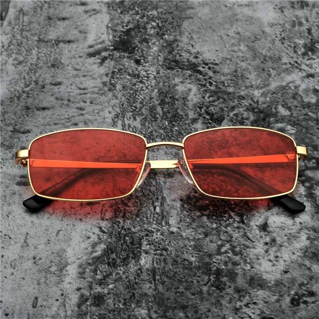 c8b602a504b49 MINCL Pequena Praça Óculos De Sol Dos Homens Do Metal Do Vintage Frame 2018  Lente