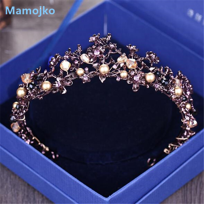 Mamojko Baroque Purple Crystal Pearl Flower Wedding Crown For Women Charm Hair Accessory Fasshion Rhinestone Beads Bridal Tiara