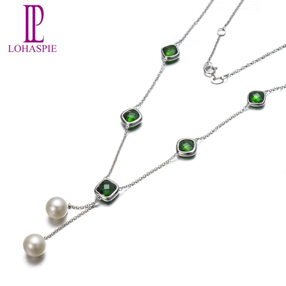 Lohaspie Solid 18K White Gold 7.55ct Natural Gemstone Chrome Diopside & Freshwater Pearl Necklaces For Mother's Gift