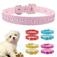 Color rosa 1 Fila collar de estrás para perro Diamante mascota de cristal gato gatito collares de cuero pu XS S M para Chihuahua