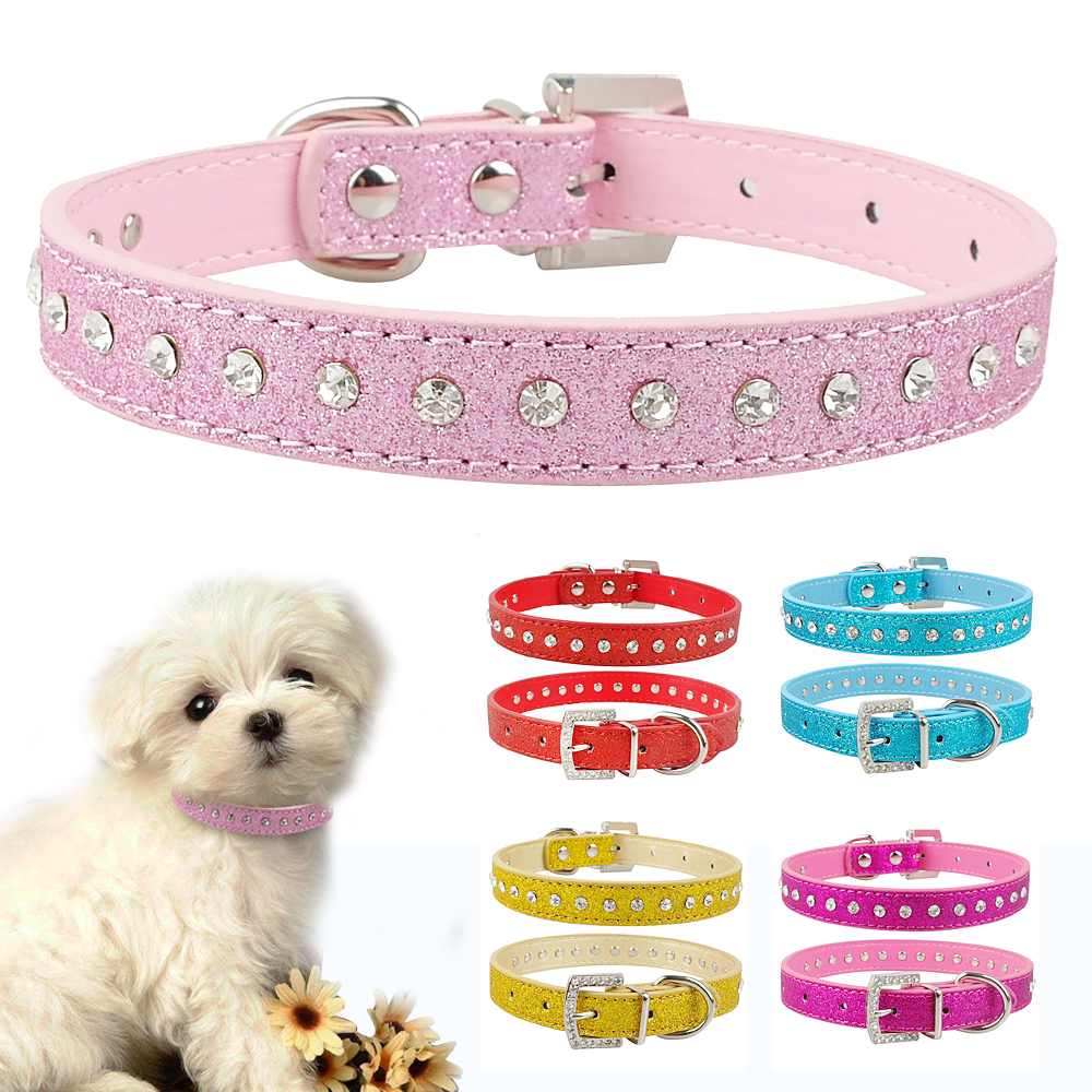 Pink Color 1 Row Rhinestone Dog...