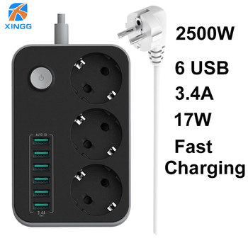 EU RUSSIAN Plug Electric Power Strip Switch 3 Outlets 6 Fast Charging USB Ports Extension Socket 1.5M Cord Cable Surge Protector original xiaomi mijia mi smart power strip 2a fast charging 3 usb extension socket plug 6 standard sockets