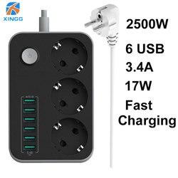 EU RUSSIAN Plug przełącznik listwy zasilającej 3 gniazda 6 szybkie ładowanie portów USB gniazdo przedłużające kabel 1.5M kabel przeciwprzepięciowy w Przedłużacze od Elektronika użytkowa na