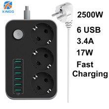 Enchufe de la UE y Rusia, interruptor de tira de alimentación eléctrica, 3 salidas, 6 puertos USB de carga rápida, toma de extensión de 1,5 M, Protector de sobretensiones de Cable