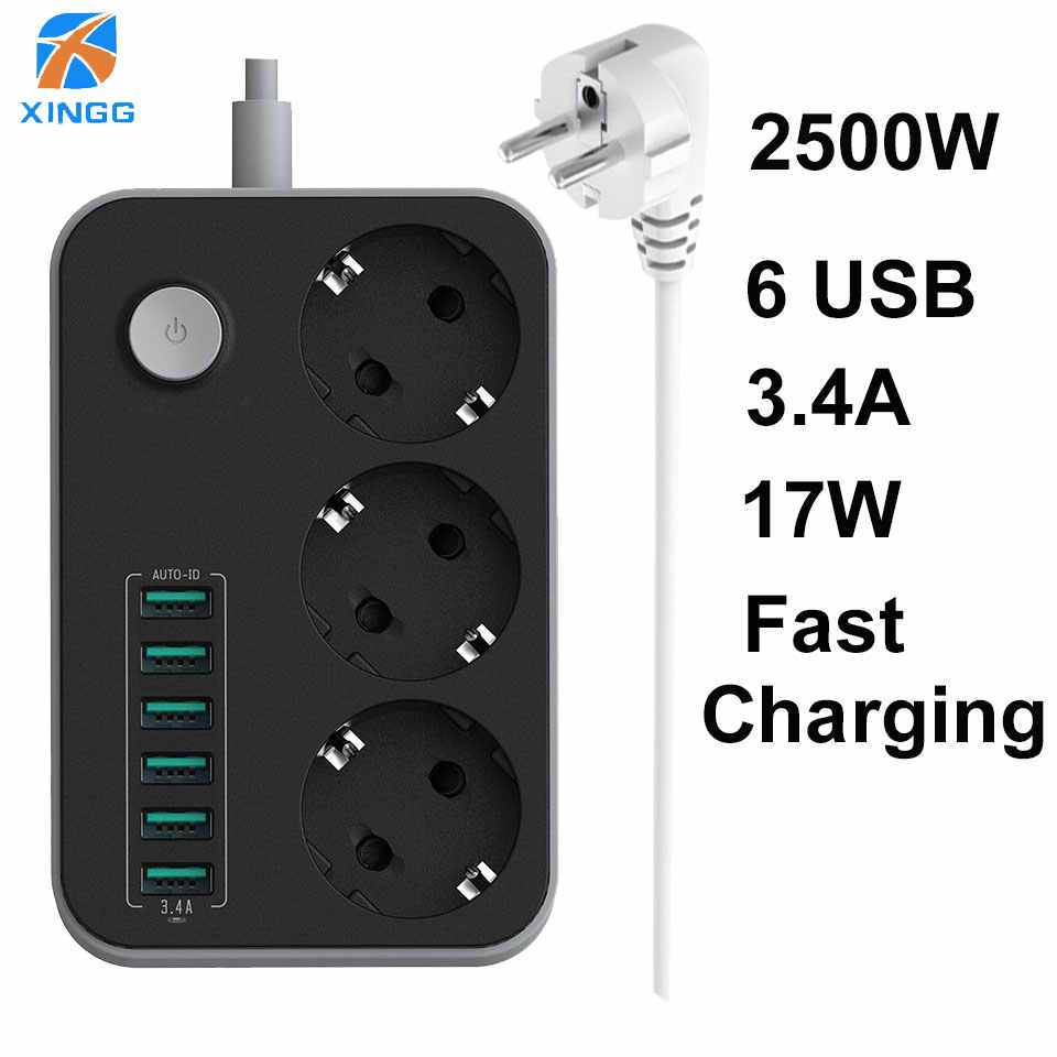 Eu Plug Usb Extension Socket Multi Elektronische Power Strip Universal Outlet Schakelaar 1.8M 3M Koord Netwerk Filter voor Telefoons