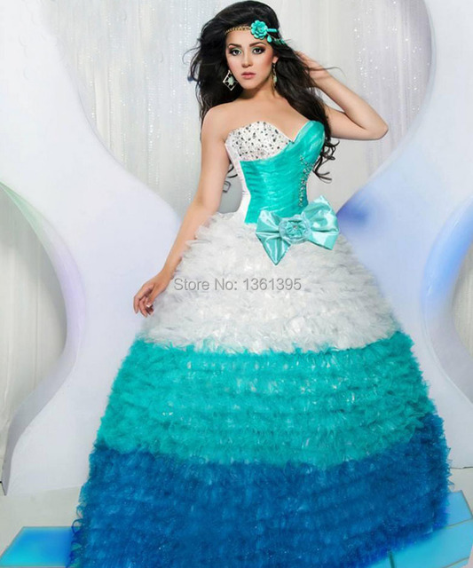 080e2ec97b7 white turquoise navy blue 2014 new sweet 15 ball gown puffy sweet 16 dresses  beaded organza quinceanera dresses with bowknot