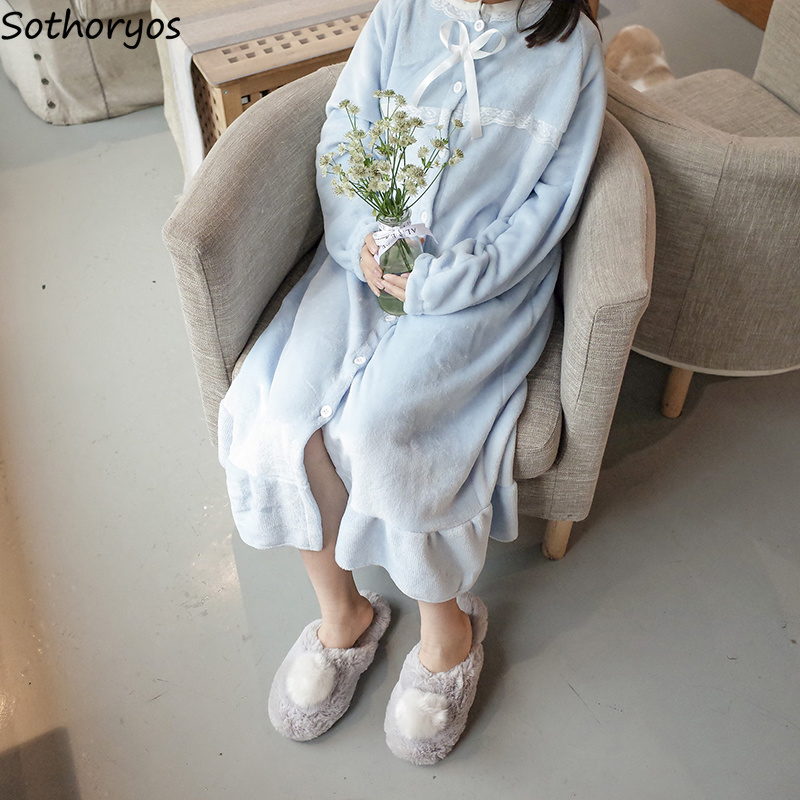 Image 4 - Nightgowns Women Long Kawaii Korean Style Loose Thicker Warm Soft Solid Lace Daily Student Sleepwear Casual Womens Sleepshirts-in Nightgowns & Sleepshirts from Underwear & Sleepwears