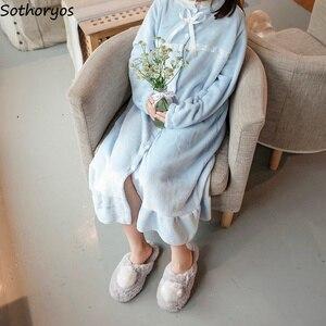 Image 4 - Robe de nuit longue Style coréen pour femmes, tenue de nuit ample, épaisse, chaude, douce et solide, en dentelle, étudiantes, décontracté