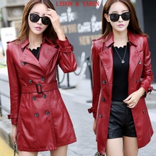 new leather coat women jacket leather clothing female  spring slim girl motorcycle leather jackets coats long outerwear red