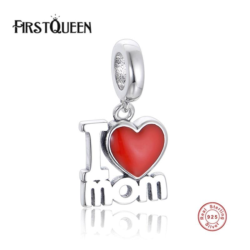 FirstQueen I Love Mom Dangle Charm Fit European Bracelet Bangle Women Party Fine Jewelry